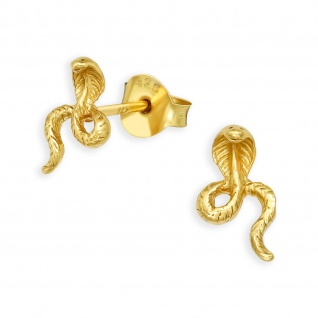 Gold Kobra Schlangen Ohrringe aus 925 Silber