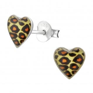 Leoparden Herz Kinder Ohrringe aus Silber