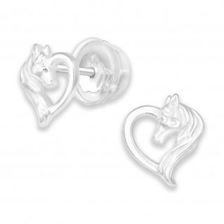 Pferde Herz Kinder Ohrringe aus 925 Silber