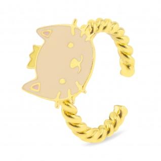 Katze mit Krone Ring vergoldet