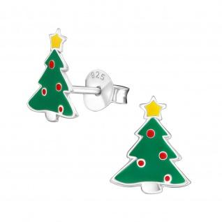 Weihnachtsbaum Ohrringe aus 925 Silber