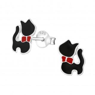 Schwarze Katzen Ohrringe aus 925 Silber - Vorschau 1