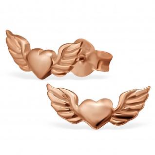 Herzfl?gel Ohrringe aus 925 Silber