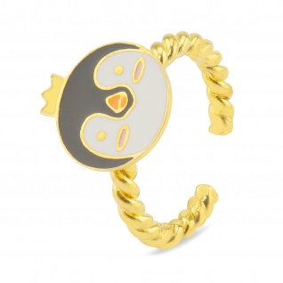 Pinguin mit Krone Ring vergoldet