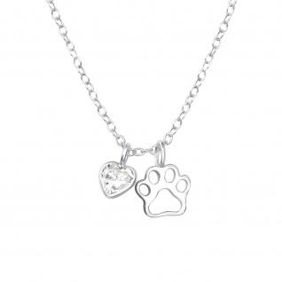 Pfoten mit Herz Halskette aus 925 Silber