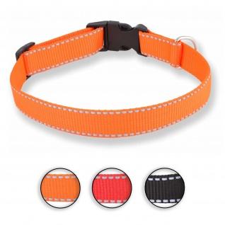 Hundehalsband aus Nylon orange reflektierend