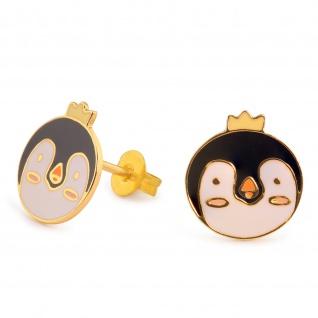 Pinguin Ohrringe vergoldet