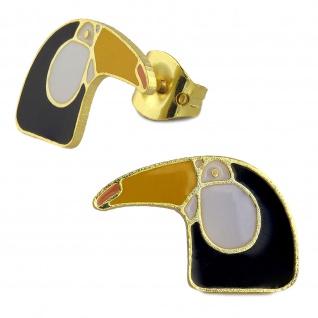 Nashornvogel Ohrringe vergoldet