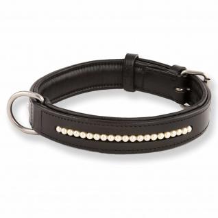 Hundehalsband aus Leder besetzt mit echten Swarovski-Perlen