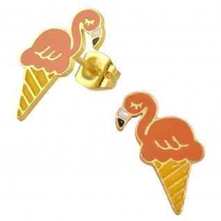 Flamingo Ohrringe vergoldet