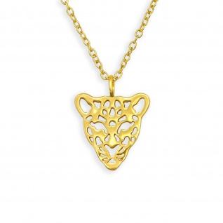 Leopard Gold Halskette aus 925 Silber