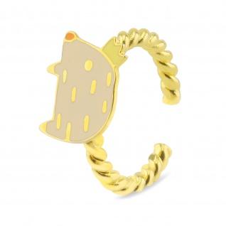 Schwein mit Krone Ring vergoldet