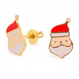 Weihnachtsmann Ohrringe vergoldet