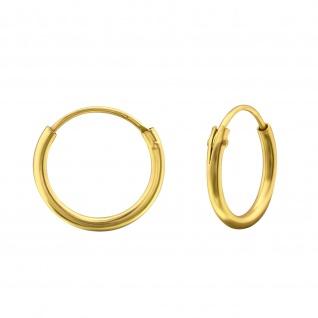 Gold Creolen Kinder-Ohrringe aus 925 Silber