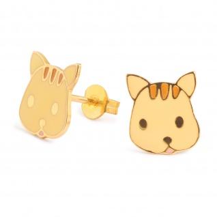 Katzen Ohrringe vergoldet