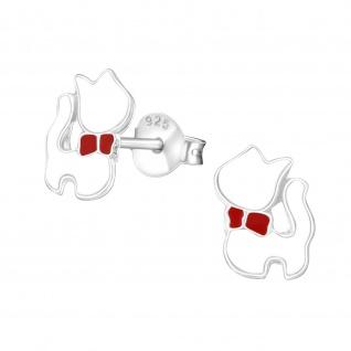 Weiße Katzen Ohrringe aus 925 Silber