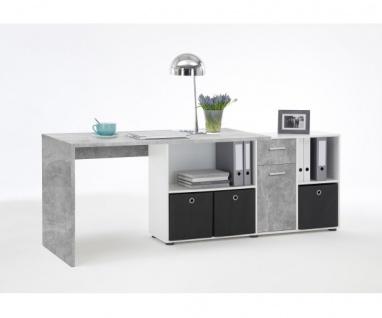 353-001 Lex Beton grau Light Atelier/Weiß Dekor Schreibtisch Bürotisch Büro W... - Vorschau 3