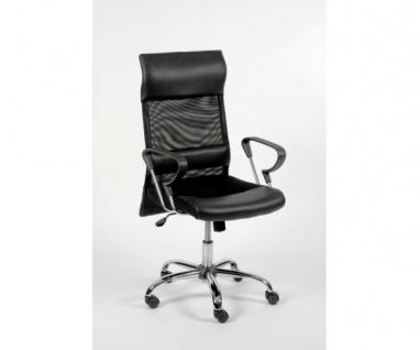 60121S6 Drehstuhl, Chefsessel Bürostuhl mit Netzteil im Rücken schwarz