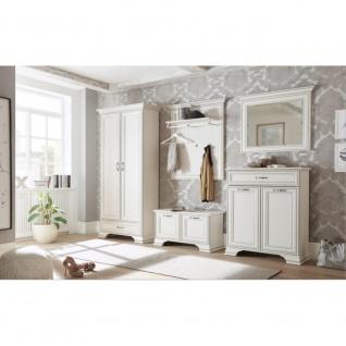 Diele Garderobe Flur SET 5tlg. VENEDIG White Used Patina ca. 280 x 206 x 40 cm