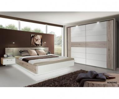 Schlafzimmer Rondino Sandeiche Nb. / Hochglanz weiss inkl. Bett und Kleidersc...