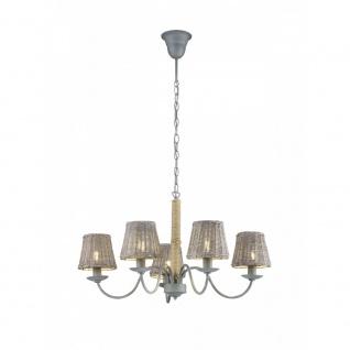 Kronleuchter Deckenleuchte Deckenlampe Rotin grau grau 5x E14, 110900511