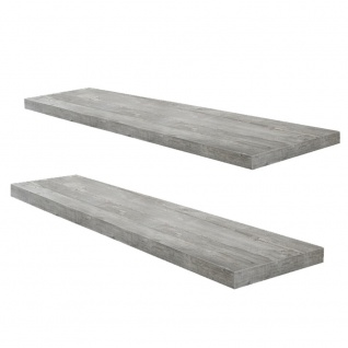 2er-Set Wandboard Steckboard Wandregal 0521_90 Beton Grau Optik 90 cm breit