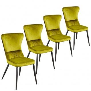 4er SET Esszimmerstuhl Relaxstuhl Küchenstuhl Samtstoff R5091-15 AGUAS grün gelb