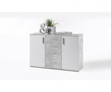 36-105-D5 Bobby beton / weiss Kommode Beistellkommode Sideboard ca. 120 cm