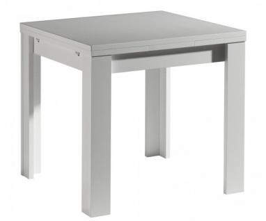 0590/ 80 x 80 cm weiss Zip Esszimmertisch Küchentisch Speisezimmer ausziehbar...