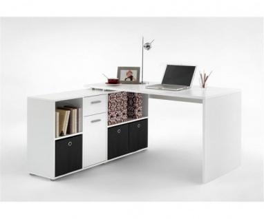 353-001 Lex weiss Schreibtisch Bürotisch Büro Winkelkombination
