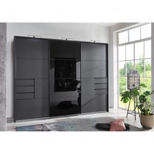 Kleiderschrank Schwebetüren Schiebetüren 270 cm SAIGON Anthratiz / Schwarz