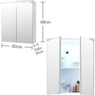 Spiegelschrank Badspiegel inkl. LED Beleuchtung ca. 60 x 69 x 20 cm POOL Weiß... - Vorschau 2