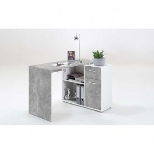 360-001 ALBRECHT Beton grau / Weiß Schreibtisch PC Tisch Bürotisch Arbeitstis...