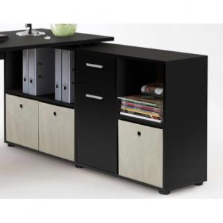 353-001 Lex SCHWARZ Schreibtisch Bürotisch Büro Winkelkombination FMD - Vorschau 2