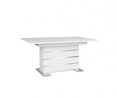 001639 Mantova Weiß Esszimmertisch Esstisch Tisch Auszugtisch ca. 160 cm ausz...