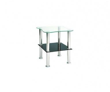 33510 Klecks schwarz Beistelltisch Nachtkommode Glas Glastisch
