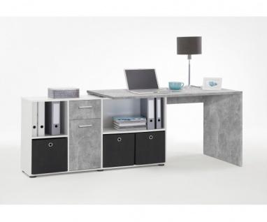 353-001 Lex Beton grau Light Atelier/Weiß Dekor Schreibtisch Bürotisch Büro W... - Vorschau 4