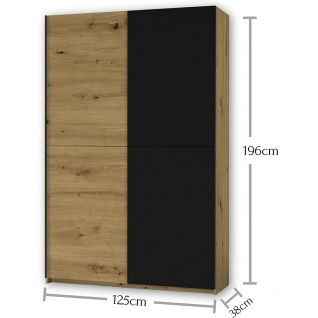 Schrank Schiebetüren Schwebetüren Kleiderschrank ca. 125 x 196 x 38 cm FAST A... - Vorschau 4
