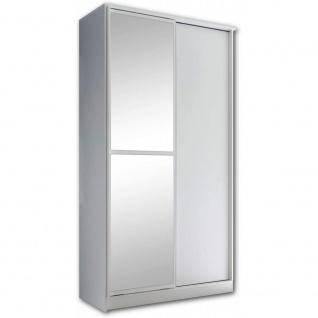 Kleiderschrank Schiebetüren Schwebetüren ca. 120 x 220 x 45 cm ALEDO Weiß / S...
