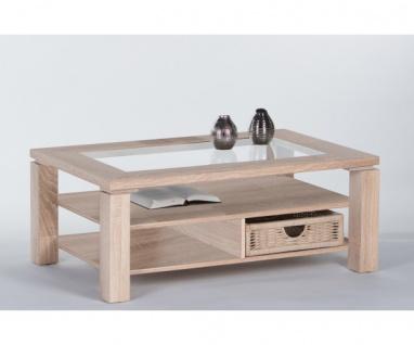 83-456-66 Lazy Couchtisch Beistelltisch Tisch Eiche Sonoma mit Glaseinlage ca...
