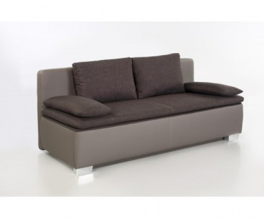 Duett braun / grau Schlafsofa Sofa 2-Sitzer Bettsofa Couch mit Bettfunktion i...