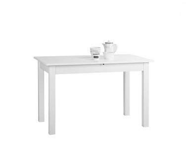 001288 Coburg Weiß 140 x 80 cm Tisch Esszimmertisch Küchentisch ausziehbar au...