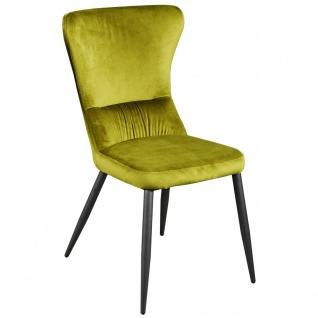 Esszimmerstuhl Relaxstuhl Küchenstuhl Samtstoff R5091-15 AGUAS grün gelb