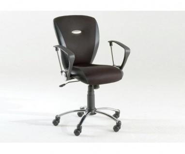 60303S3 Drehstuhl, Bürostuhl schwarz Textilleder mit Armlehnen Twin