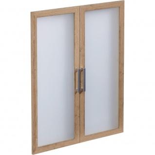3012-012 CALVIA 12 Alteiche Glas Rahmentüren Drehtüren Satz klein für Büropro...