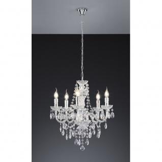 R1107-00 Kronleuchter Lüster chrom, transparent klar 5x E14 Höhe ca. 150 cm D... - Vorschau 2