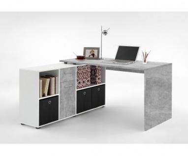 353-001 Lex Beton grau Light Atelier/Weiß Dekor Schreibtisch Bürotisch Büro W... - Vorschau 2