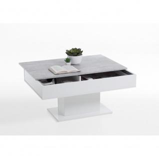 672-002 AVOLA Beton grau Nb. / weiß Edelglanz ca. 100 x 46 x 65 cm LA Tisch C...
