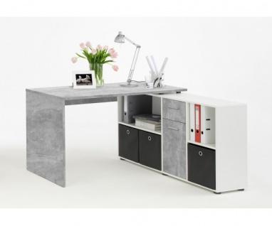 353-001 Lex Beton grau Light Atelier/Weiß Dekor Schreibtisch Bürotisch Büro W...