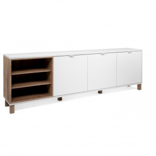 TV Board Lowboard Fernseher Kommode Sideboard ca. 200 cm MENORCA 57A Weiß / O...